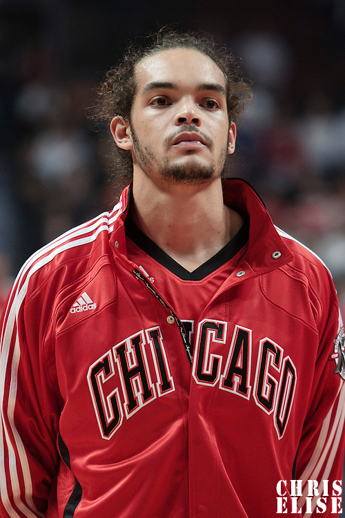 30 October 2010: Chicago Bulls Joakim Noah is seen during the national anthem prior to the Chicago Bulls 101-91 victory over the Detroit Pistons at the United Center, in Chicago, Illinois, USA.