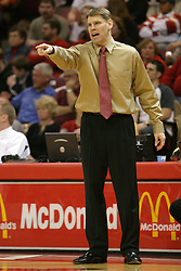 01 January 2006..Redbird Coach Porter Moser barks an order at his players...The Southern Illinois Saluki's chewed up the Illinois State Redbirds with 37 points in the 2nd half to beat the birds with a final score of 65-52.  An audience of just over 7500 watched the in Redbird Arena on the campus of Illinois State University in Normal Illinois.....