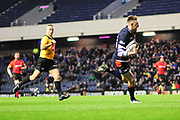 Dougie Fife runs in the first try during the Guinness Pro 14 2018_19 match between Edinburgh Rugby and Southern Kings at BT Murrayfield Stadium, Edinburgh, Scotland on 5 January 2019.
