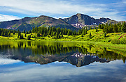Morning reflections at Little Molas Lake, located at Molas Pass in the San Juan mountains near Durango, Colorado