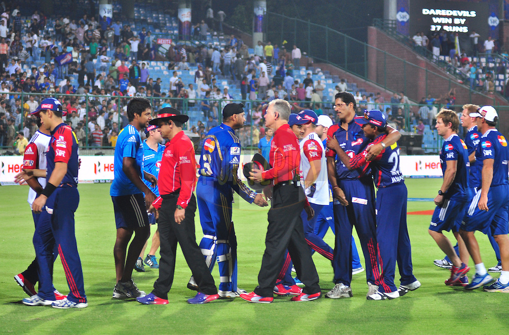 Delhi Daredevils and  Mumbai Indians players meet each other after match during match 36 of the the Indian Premier League ( IPL) 2012  between The Delhi Daredevils and the Mumbai Indians held at the Feroz Shah Kotla, Delhi on the 27th April 2012..Photo by Arjun Panwar/IPL/SPORTZPICS