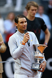 May 20, 2018 - Rome, Italy - Rafael Nadal of Spain celebrates match point after victory in his Mens Final match against Alexander Zverev of Germany during day 8 of the Internazionali BNL d'Italia 2018 tennis at Foro Italico on May 20, 2018 in Rome, Italy. (Credit Image: © Matteo Ciambelli/NurPhoto via ZUMA Press)