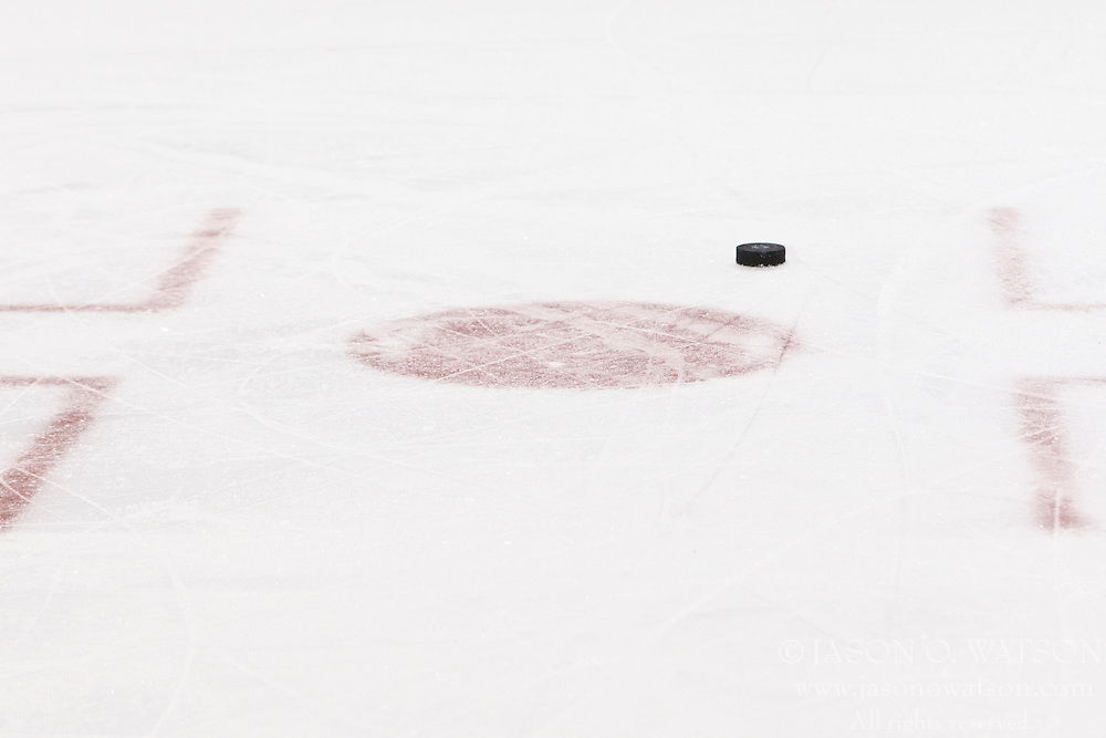 Nov 10, 2011; San Jose, CA, USA; General view of a hockey puck sitting outside the face off spot during the third period between the San Jose Sharks and the Minnesota Wild at HP Pavilion.  San Jose defeated Minnesota 3-1. Mandatory Credit: Jason O. Watson-US PRESSWIRE