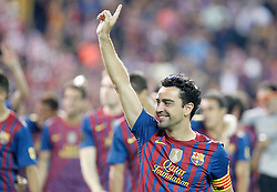 25.05.2012, Vicente Calderon Stadion, Madrid, ESP, Kings Cup Finale, FC Barcelona vs Athletic Bilbao, im Bild Barcelona's Xavi Hernandez celebrates // during the Spanish Kings Cup final match between Fc Barcelona and Athletic Bilbao at the Vicente Calderon Stadium, Madrid, Spain on 2012/05/25. EXPA Pictures © 2012, PhotoCredit: EXPA/ Alterphotos/ Alvaro Hernandez..***** ATTENTION - OUT OF ESP and SUI *****