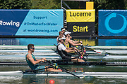 """Lucerne, SWITZERLAND, 13th July 2018, Friday Right, SUI W1X,  Jeannine GMELIN,  waiting to move on to the start   her heat of the """"Women's single sculls"""", at the, FISA World Cup series, No.3, Lake Rotsee, Lucerne, © Peter SPURRIER,"""