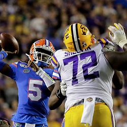 Oct 12, 2019; Baton Rouge, LA, USA; Florida Gators quarterback Emory Jones (5) throws against the LSU Tigers during the first half at Tiger Stadium. Mandatory Credit: Derick E. Hingle-USA TODAY Sports