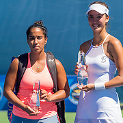 August 22, 2016, New Haven, Connecticut: <br /> Sophie Chang and Sanaz Marzand pose for a photograph with the trophies following the US Open National Playoffs women's singles finals match on Day 4 of the 2016 Connecticut Open at the Yale University Tennis Center on Monday August  22, 2016 in New Haven, Connecticut. <br /> (Photo by Billie Weiss/Connecticut Open)