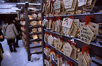 Wooden prayer boards containing the wishes of their authors on display at Hokkaido's largest temple, Sapporo's Hokkaido Jingu.