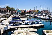 Boats Docked at Rainbow Harbor in Long Beach