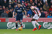 Leeds United midfielder Jack Harrison (22),  during the EFL Sky Bet Championship match between Stoke City and Leeds United at the Bet365 Stadium, Stoke-on-Trent, England on 19 January 2019.