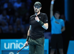 Andy Murray gives the thumbs up during day two of the Barclays ATP World Tour Finals at The O2, London.