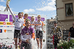 Riders of Rabo-Liv Cycling Team, the best team of the race celebrate their win after the 117,5 km third stage of the 2016 Ladies' Tour of Norway women's road cycling race on August 13, 2016 between Svinesund, Sweden and Halden, Norway. (Photo by Balint Hamvas/Velofocus)