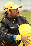 MS Dhoni of the Chennai Super Kings pads up during the Superkings  training session held at St Georges Park in Port Elizabeth on the 17 September 2010..Photo by: Shaun Roy/SPORTZPICS/CLT20