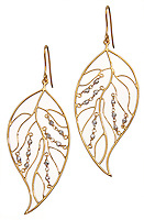 gold leaf earrings with silver pearl accents