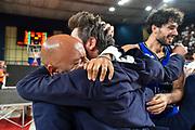 Stefano Sardara, Gianmarco Pozzecco<br /> Banco di Sardegna Dinamo Sassari - Umana Reyer Venezia<br /> Finale Zurich Connect Supercoppa LBA 2019<br /> Bari, 22/09/2019<br /> Foto L.Canu / Ciamillo-Castoria