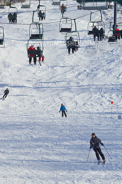 Warwick, New York - People ski and ride the ski lifts at Mount Peter Ski and Ride on Feb. 10, 2013. ©Tom Bushey / The Image Works