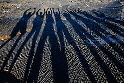 Shadows of a group of people on dry lava flow patterns, Sullivan Bay,Santiago Island, Galapagos Islands, Ecuador
