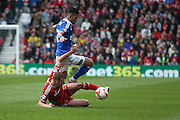 Middlesbrough forward Jordan Rhodes (9)  wins the ball  during the Sky Bet Championship match between Middlesbrough and Ipswich Town at the Riverside Stadium, Middlesbrough, England on 23 April 2016. Photo by Simon Davies.