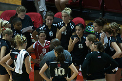 19 AUG 2006  The Huskies huddle up during a time out. Northern Illinois Huskies got slammed by Illinois State Redbirds, losing the match 3 games to 1. Game action took place at Redbird Arena on the campus of Illinois State University in Normal Illinois.