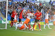 Cardiff city's Matthew Connolly (c) heads to score his sides 3rd goal. NPower championship, Cardiff city v Blackpool at the Cardiff city Stadium in Cardiff, South Wales on Saturday 29th Sept 2012.   pic by  Andrew Orchard, Andrew Orchard sports photography,