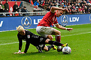 Ezgjan Alioski (10) of Leeds United and Joe Bryan (3) of Bristol City battles for possession during the EFL Sky Bet Championship match between Bristol City and Leeds United at Ashton Gate, Bristol, England on 21 October 2017. Photo by Graham Hunt.