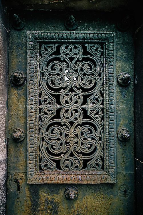 Cemetery mausoleum door detail