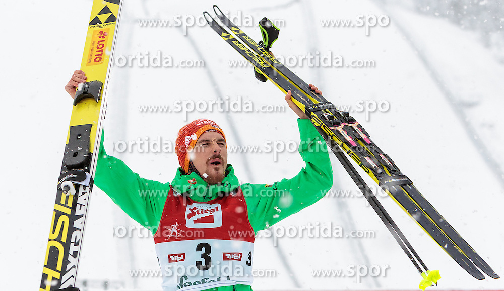 31.01.2016, Casino Arena, Seefeld, AUT, FIS Weltcup Nordische Kombination, Seefeld Triple, Gesamt Siegerehrung, im Bild Fabian Riessle (GER, 3. Platz) // 3rd placed Fabian Riessle of Germany celebrate on the Overall Podium of the FIS Nordic Combined World Cup Seefeld Triple at the Casino Arena in Seefeld, Austria on 2016/01/31. EXPA Pictures © 2016, PhotoCredit: EXPA/ JFK