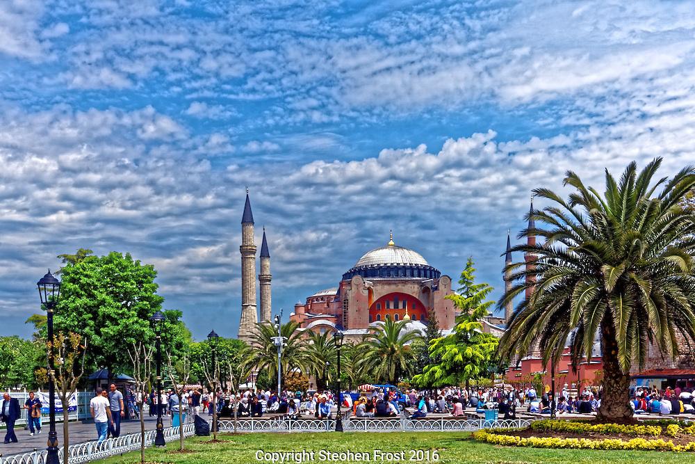 Hagia Sophia and visitors in Istanbul, Turkey.