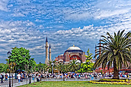 Hagia Sophia and visitors in Istanbul, Turkey.