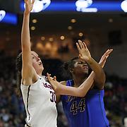 Breanna Stewart, (left), UConn, challenges for a rebound with Brandi Harvey-Carr, DePaul, during the UConn Vs DePaul, NCAA Women's College basketball game at Webster Bank Arena, Bridgeport, Connecticut, USA. 19th December 2014