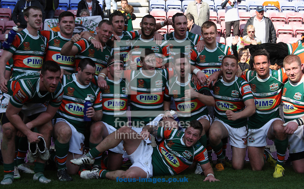 Team Picture of Hunslet Hawks  as there bow out of the the Tetleys Challenge Cup despite losing to Wigan Warriors during the Tetley's Challenge Cup match at the DW Stadium, Wigan<br /> Picture by Stephen Gaunt/Focus Images Ltd +447904 833202<br /> 27/04/2014