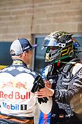 October 18-21, 2018: United States Grand Prix. Max Verstappen (DEU), Aston Martin Red Bull Racing, RB14, Nico Hulkenberg (GER), Renault Sport Formula One Team, R.S.18