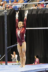 June 10, 2012 - St. Louis, Missouri, United States of America - KATELYN OHASHI sticks her landing from the uneven bars during the final day of the 2012 Visa Championships, USA Gymnastic's national championships,  Women's Junior Competition in St. Louis, MO.  OHASHI finished in 5th place and became a member of the National Team. (Credit Image: © Richard Ulreich/ZUMApress.com)
