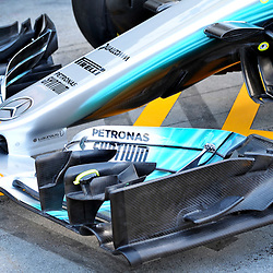 The front wing of the Mercedes AMG Petronas F1 Team.<br /> <br /> Round 1 - 2nd day of the 2017 Formula 1 Rolex Australian Grand Prix at The circuit of Albert Park, Melbourne, Victoria on the 24th March 2017.<br /> Wayne Neal | SportPix.org.uk