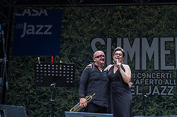 August 7, 2017 - Rome, Italy - The famous Italian jazz singer performed on 7/8/2017 at Casa del Jazz in Rome at the end of the 'Summertime 2017' event, presenting his latest album, 'Abbey's Road, a tribute to Abbey Lincoln'. With her on stage, Giovanni Falzone on trumpet, Filippo Vignato on trombone, Matteo Bortone on bass and Ermanno Baron on drums. Giovanni Falzone (L) and Ada Montellanico (Credit Image: © Leo Claudio De Petris/Pacific Press via ZUMA Wire)