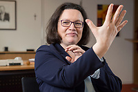 15 MAR 2018, BERLIN/GERMANY:<br /> Andrea Nahles, SPD Fraktionsvorsitzende, waehrend einem Interview, in ihrem Buero, Jakob-Kaiser-Haus, Deutscher Bundestag<br /> IMAGE: 20180315-01-027<br /> KEYWORDS: B&uuml;ro