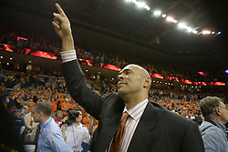 Virginia head coach Dave Leitao salutes the capacity crowd of 15,219 after UVA defeated the #10 ranked Wildcats 93-90 in the first game at the new John Paul Jones Arena, in Charlottesville, VA on November 12, 2006...