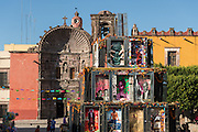 The Pyramid of the Dead by Chilean Artist Tomas Burkey in front of the Church of Our Lady of Health or Nuestra Señora de la Salud Church as part of the Dead of the Dead celebrations in San Miguel de Allende, Guanajuato, Mexico.