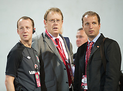 NOVI SAD, SERBIA - Tuesday, September 11, 2012: Wales' head of international affairs Mark Evans during the 2014 FIFA World Cup Brazil Qualifying Group A match against Serbia at the Karadorde Stadium. (Pic by David Rawcliffe/Propaganda)