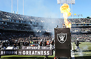 Dec 3, 2017; Oakland, CA, USA; Oakland Raiders quarterback Derek Carr (4) leads the team on the filed for an NFL game against the New York Giants at Oakland-Alameda County Coliseum.
