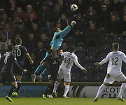 Kyle Letheren goes over the top of Peter MacDonald and Reece Donaldson in the incident which led to him being stretchered off  - Raith Rovers v Dundee,  SPFL Championship at Starks Park<br /> <br />  - &copy; David Young - www.davidyoungphoto.co.uk - email: davidyoungphoto@gmail.com