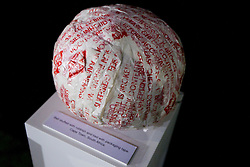 Ball made by rubbish and tied with packaging tape from Cape Town at Adidas central for FIFA World Cup 2010 on June 30, 2010 at Nelson Mandela Square in Sandton Convention Centre in Johannesburg. (Photo by Vid Ponikvar / Sportida)