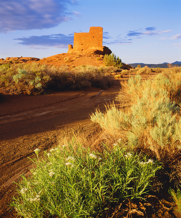 0121-1024 ~ Copyright: George H. H. Huey ~ Wukoki Pueblo ruin at sunrise. Sinagua culture. Occupied A.D. 1100's. Near present day town of Flagstaff. Wupatki National Monument, Arizona.