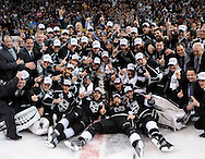 The Kings' celebrate after defeating the New York Rangers 3-2 in double-overtime in Game 5 of the 2014 Stanley Cup Final at Staples Center Friday.