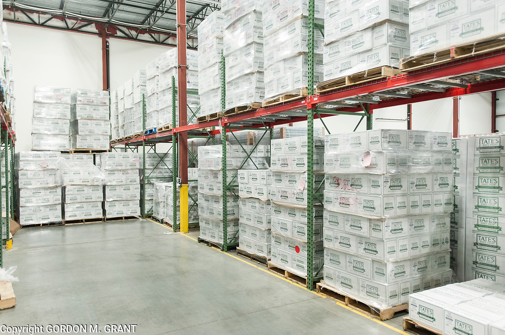 Pallets of cookies at the Tate's Bake Shop distribution center at the Hampton Business District at Gabreski Airport in Westhampton, Jan. 16, 2018. Tate's Bake Shop is expanding it's distribution facility into a newly constructed building at the site.