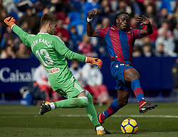 January 14, 2018 - Valencia, Valencia, Spain - Boateng (R) of Levante UD competes for the ball with Ruben Blanco of Real Club Celta de Vigoduring the La Liga game between Levante UD and Real Club Celta de Vigo at Ciutat de Valencia stadium on January 14, 2018 in Valencia, Spain  (Credit Image: © David Aliaga/NurPhoto via ZUMA Press)