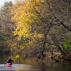Kayaking the Nashua River in Groton, Massachusetts.