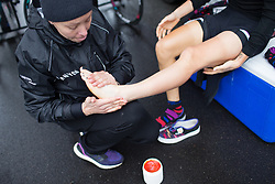 Final preparations for Pauline Ferrand-Prevot (FRA) of CANYON//SRAM Racing before the Trofeo Alfredo Binda - a 131,1 km road race, between Taino and Cittiglio on March 18, 2018, in Varese, Italy. (Photo by Balint Hamvas/Velofocus.com)