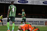 Lyle Taylor forward for AFC Wimbledon (33) during the Sky Bet League 2 match between Dagenham and Redbridge and AFC Wimbledon at the London Borough of Barking and Dagenham Stadium, London, England on 19 April 2016. Photo by Stuart Butcher.