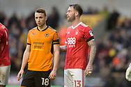 Diogo Jota of Wolverhampton Wanderers is closely watched by Danny Fox of Nottingham Forest during the EFL Sky Bet Championship match between Wolverhampton Wanderers and Nottingham Forest at Molineux, Wolverhampton, England on 20 January 2018. Photo by Darren Musgrove.